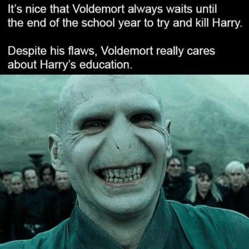 End Of The School Year: It's nice that Voldemort always waits until  the end of the school year to try and kill Harry.  Despite his flaws, Voldemort really cares  about Harry's education.