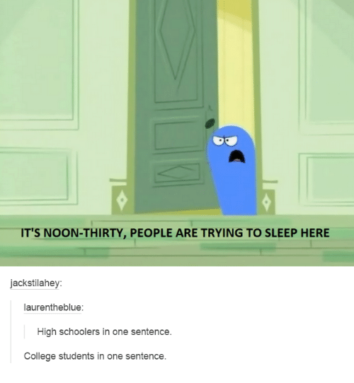 College, Humans of Tumblr, and Sleep: IT'S NOON-THIRTY, PEOPLE ARE TRYING TO SLEEP HERE  jackstilahey:  laurentheblue:  High schoolers in one sentence.  College students in one sentence.