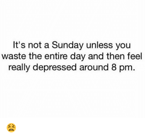 Memes, Sunday, and A Sunday: It's not a Sunday unless you  waste the entire day and then feel  really depressed around 8 pm 😫