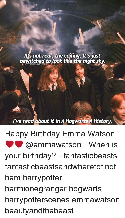 Bewitched: It's not real, the ceiling. It's just  bewitched to look like the night sky.  I've read about it in A Hogwarts A History. Happy Birthday Emma Watson ❤❤ @emmawatson - When is your birthday? - fantasticbeasts fantasticbeastsandwheretofindthem harrypotter hermionegranger hogwarts harrypotterscenes emmawatson beautyandthebeast