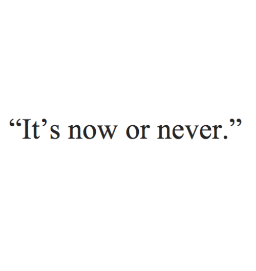 "now or never: ""It's now or never."""