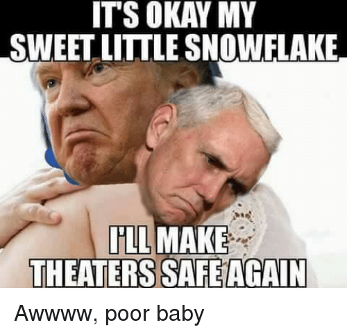 Donald Trump, Snowflakes, and Sweetness: ITS OKAY MY  SWEET LITTLE SNOWFLAKE  ILL MAKE  THEATERS SAFEAGAIN Awwww, poor baby