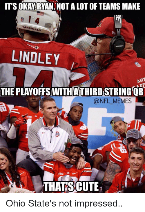 Ohio State: ITS OKAY RYAN NOTALOTOF TEAMS MAKE  CARDINALS  LINDLEY  THE PLAYOFFS WITH ATHIRD STRING OB  @NFL MEMES  THAT CUTE Ohio State's not impressed..