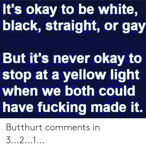Butthurt: It's okay to be white,  black, straight, or gay  But it's never okay to  stop at a yellow light  when we both could  have fucking made it. Butthurt comments in 3...2...1...
