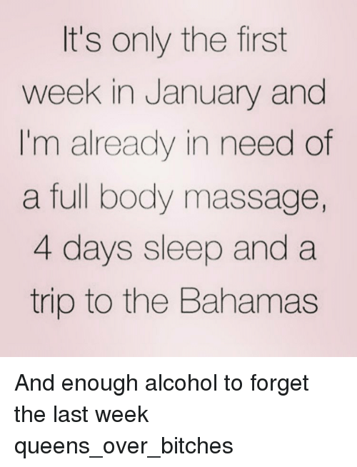 full body massage: It's only the first  week in January and  I'm already in need of  a full body massage,  4 days sleep and a  trip to the Bahamas And enough alcohol to forget the last week queens_over_bitches