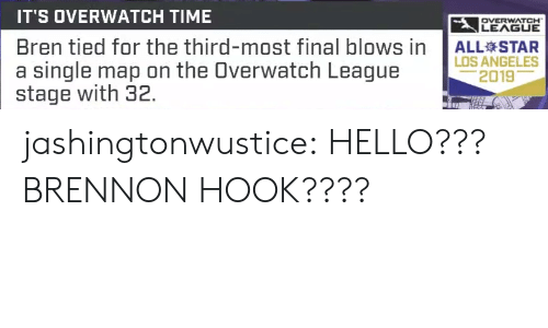overwatch: IT'S OVERWATCH TIME  LEAGUE  OVERWATCH  Bren tied for the third-most final blows in  a single map on the Overwatch League  stage with 32.  ALL STAR  LOS ANGELES  2019 jashingtonwustice:  HELLO??? BRENNON HOOK????