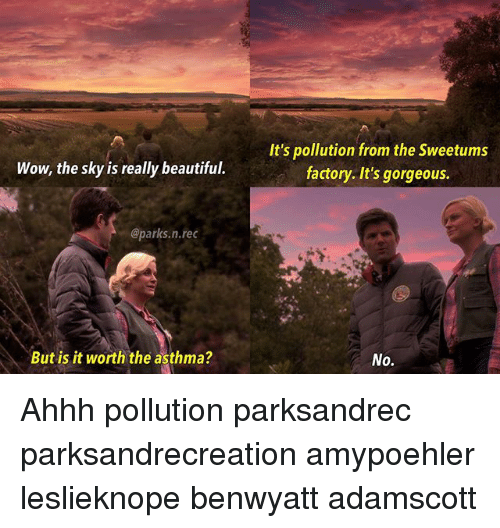 Beautiful, Memes, and Wow: It's pollution from the Sweetums  factory. It's gorgeous.  Wow, the sky is really beautiful.  @parks.n.rec  But is it worth the asthma?  No. Ahhh pollution parksandrec parksandrecreation amypoehler leslieknope benwyatt adamscott