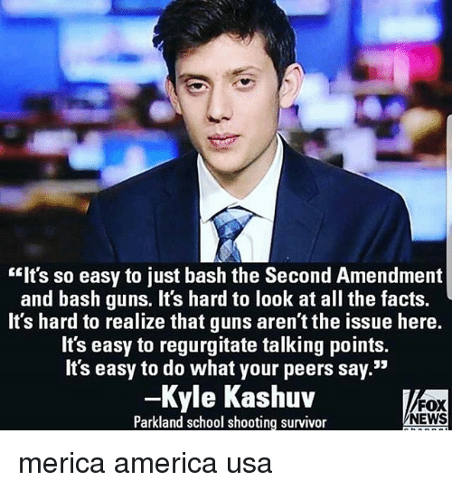 "America, Facts, and Guns: ""Its so easy to just bash the Second Amendment  and bash guns. It's hard to look at all the facts.  It's hard to realize that guns aren't the issue here.  It's easy to regurgitate talking points.  It's easy to do what your peers say.""  -Kyle Kashuv  Parkland school shooting survivor  FOX  NEWS merica america usa"