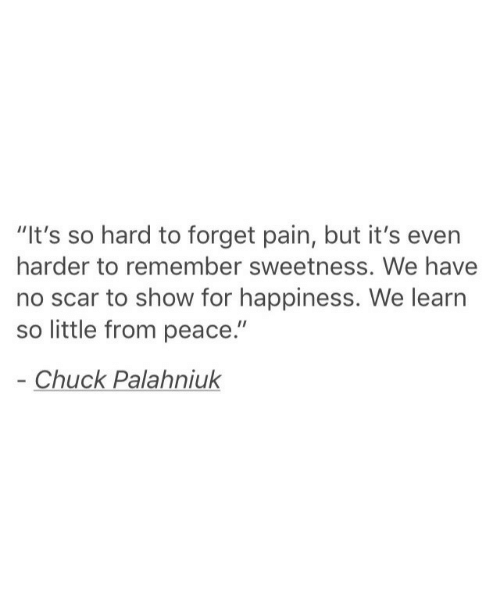"""sweetness: """"It's so hard to forget pain, but it's even  harder to remember sweetness. We have  no scar to show for happiness. We learn  so little from peace.""""  Chuck Palahniuk"""