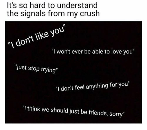 "Crush, Friends, and Love: It's so hard to understand  the signals from my crush  ""I don't like you""  ""I won't ever be able to love you""  ""just stop trying  ""I don't feel anything for you""  ""I think we should just be friends, sorry"""