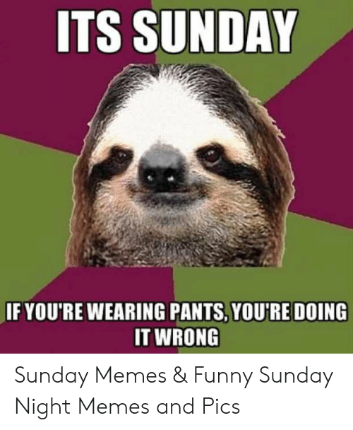 Its Sunday Meme: ITS SUNDAY  IF YOU'RE WEARING PANTS, YOU'RE DOING  IT WRONG Sunday Memes & Funny Sunday Night Memes and Pics