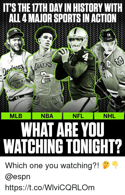 Espn, Memes, and Mlb: IT'S THE 17TH DAY IN HISTORY WITH  ALL 4 MAJOR SPORTS IN ACTION  19  4  NBA NFL  WHAT ARE YOU  WATCHING TONIGHT?  MLB  NFL  NHL Which one you watching?! 🤔👇 @espn https://t.co/WlviCQRLOm