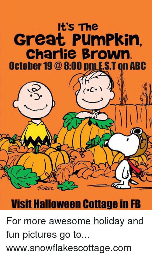 it's the great pumpkin charlie brown: It's The  Great PumPkin,  Charlie Brown  October 19 8:00 p  ST on ABC  Visit Halloween Cottage in FB For more awesome holiday and fun pictures go to... www.snowflakescottage.com