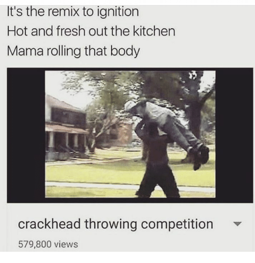 Crackhead, Fresh, and Ignition: It's the remix to ignition  Hot and fresh out the kitchen  Mama rolling that body  crackhead throwing competition  579,800 views