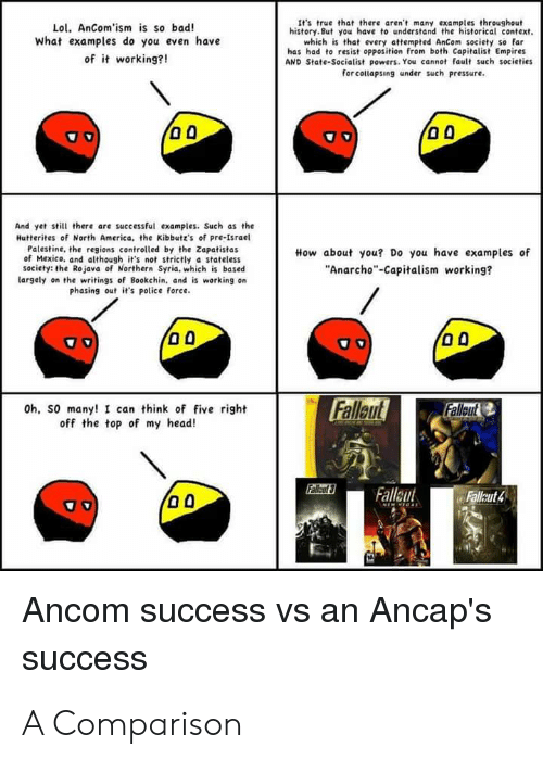 """Anarcho-Capitalism: It's true that there aren't many examples threoughout  history.But you have to understand the historical context.  which is that every attempted AnCom society so far  has had to resist opposition from both Capitalist Empires  AND State-Socialist powers. You cannot fault such societies  for collapsing under such pressure  Lol. AnCom'ism is so bad!  what examples do you even have  of it working?!  And yet still there are successful examples. Such as the  Hutterites of North America, the Kibbutz's of pre-Israel  Palestine, the regions controlled by the Zapatistas  of Mexico, and although it's not strictly a stateless  society: the Rojava of Northern Syria, which is based  How about you? Do you have examples of  """"Anarcho""""-Capitalism working?  largely on the writings of Bookchin, and is warking on  phasing out it's police foree.  Falleut  Fallout  Oh, so many! I can think of five right  off the top of my head!  Fallt  Fallaut  Fallut4  Ancom  success vs an Ancap's  success A Comparison"""