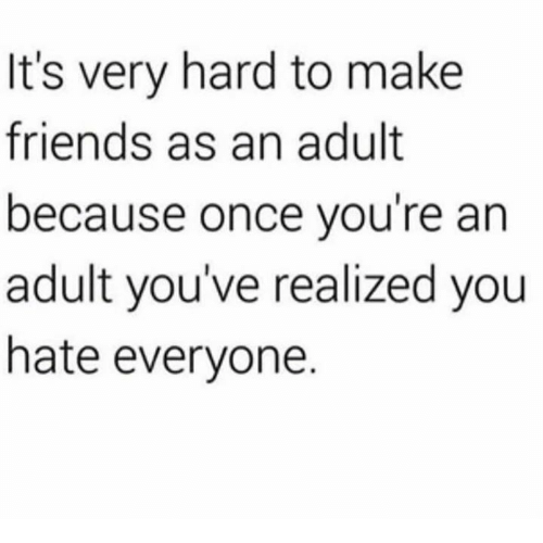 Dank, Friends, and 🤖: It's very hard to make  friends as an adult  because once you're an  adult you've realized you  hate everyone.