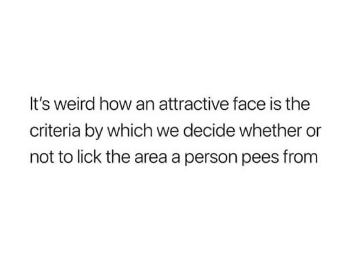 Weird, How, and Face: It's weird how an attractive face is the  criteria by which we decide whether or  not to lick the area a person pees from