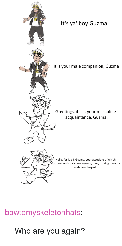 "Guzma : It's ya' boy Guzma  It is your male companion, Guzma  Greetings, it is 1, your masculine  acquaintance, Guzma.  Hello, for it is I, Guzma, your associate of which  as born with a Y chromosome, thus, making me your  male counterpart. <p><a href=""http://bowtomyskeletonhats.tumblr.com/post/155150149695/who-are-you-again"" class=""tumblr_blog"" target=""_blank"">bowtomyskeletonhats</a>:</p><blockquote><p>Who are you again?<br/></p></blockquote>"