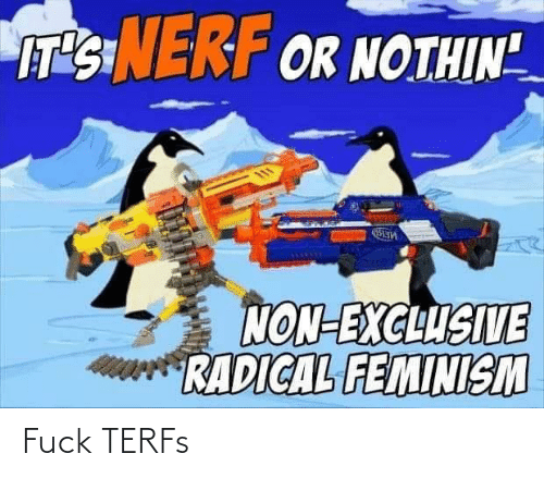 "Feminism: IT'SINERF OR NOTHIN""  NON-EXCLUSIVE  RADICAL FEMINISM Fuck TERFs"
