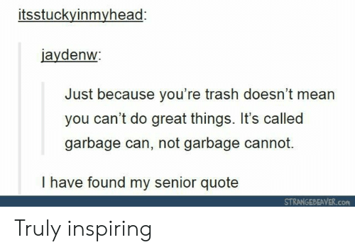 Youre Trash: itsstuckyinmyhead:  jaydenw  Just because you're trash doesn't mean  you can't do great things. It's called  garbage can, not garbage cannot.  I have found my senior quote  STRANGEBEAVER.con Truly inspiring