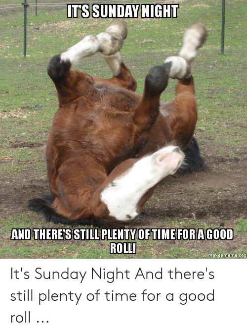 Its Sunday Meme: IT'SSUNDAY NIGHT  AND THERE'SSTILL PLENTY OF TIME FOR A GOOD  ROLL!  makeameme.org It's Sunday Night And there's still plenty of time for a good roll ...
