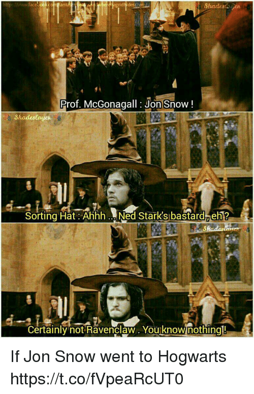 ravenclaw: ittpshwww.face oo  idhidesthen  Shadesen  ant  Prof. McGonagall: Jon Snow!  8hadeslayen  Sorting Hat: Ahhh. Ned Stark's bastard eh?  Certainly not Ravenclaw. You know nothingl! If Jon Snow went to Hogwarts https://t.co/fVpeaRcUT0