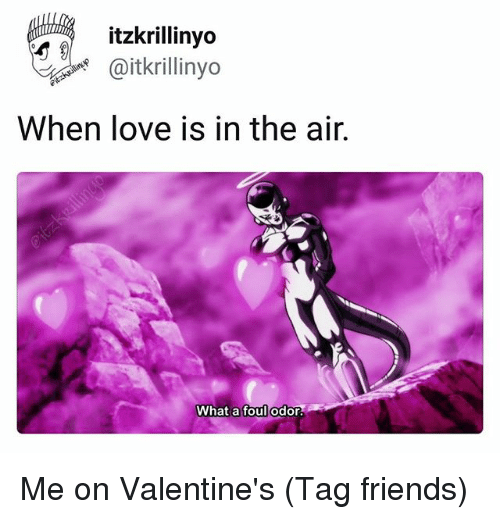 Friends, Love, and Fandom: itzkrillinyo  oitkrlinyo  When love is in the air.  What a foul odor. Me on Valentine's (Tag friends)