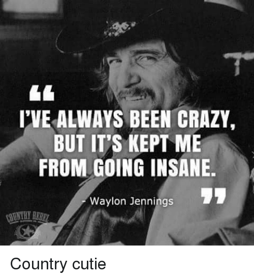 Going Insane: IVE ALWAYS BEEN CRAZY,  BUT IT'S KEPT ME  FROM GOING INSANE.  Waylon Jennings Country cutie