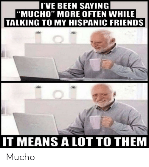 "mucho: I'VE BEEN SAYING  |""MUCHO"" MORE OFTEN WHILE  TALKING TO MY HISPANIC FRIENDS  IT MEANS ALOT TO THEM Mucho"