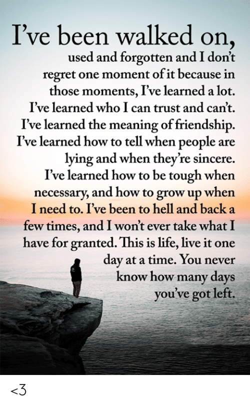 The Meaning: I've been walked on,  used and forgotten and I don't  regret one moment of it because in  those moments, I've learned a lot.  I've learned who I can trust and can't.  learned the meaning of friendship  I've learned how to tell when people are  lying and when they're sincere  I've learned how to be tough when  necessary, and how to grow up when  I need to. I've been to hell and back a  few times, and I won't ever take what I  have for granted. This is life, live it one  day at a time. You never  know how many days  you've got left. <3