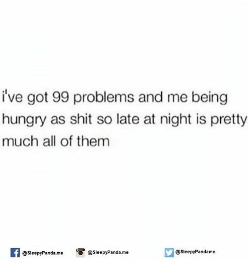 Ive Got 99 Problems: i've got 99 problems and me being  hungry as shit so late at night is pretty  much all of them  If esleepyPanda.me  o @Sleepy Pandame  leepyPandame