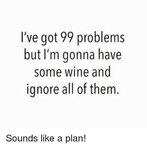 Ive Got 99 Problems: I've got 99 problems  but I'm gonna have  some wine and  ignore all of them Sounds like a plan!