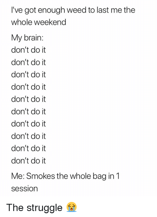 Got Enough: I've got enough weed to last me the  whole weekend  My brain:  don't do it  don't do it  don't do it  don't do it  don't do it  don't do it  don't do it  don't do it  don't do it  don't do it  Me: Smokes the whole bag in1  Session The struggle 😭