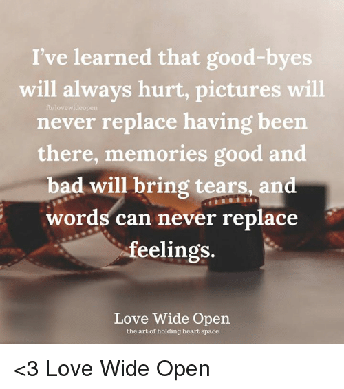 I Always Hurt The One I Love: I've Learned That Good-Byes Will Always Hurt Pictures Will