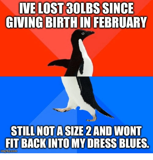 dress blues: IVE LOST 30LBS SINCE  GIVING BIRTH IN FEBRUARY  STILL NOTA SIZE 2 AND WONT  FIT BACKINTO MY DRESS BLUES.