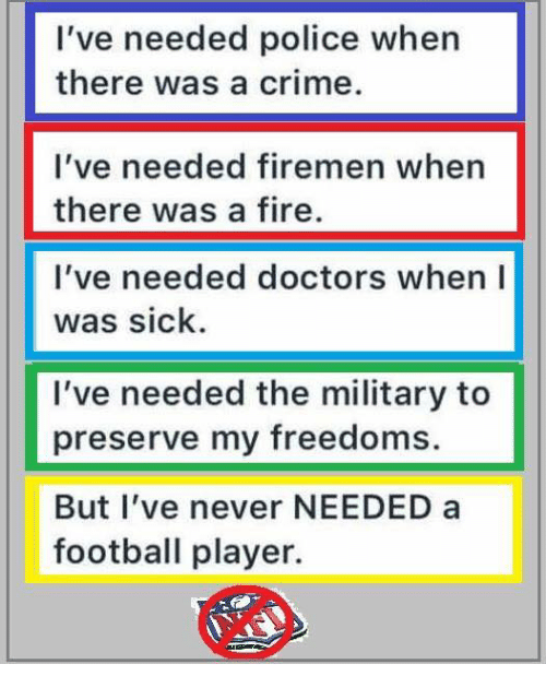 Crime, Fire, and Football: I've needed police when  there was a crime.  I've needed firemen when  there was a fire.  I've needed doctors when I  was sick  I've needed the military to  preserve my freedoms.  But l've never NEEDED a  football player.