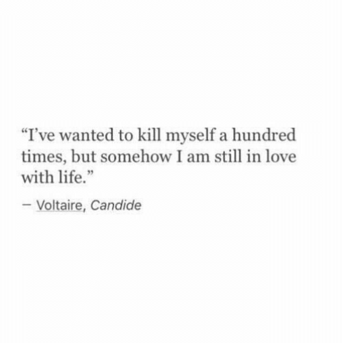 """Candide: """"I've wanted to kill myself a hundred  times, but somehow I am still in love  with life.""""  Voltaire, Candide"""