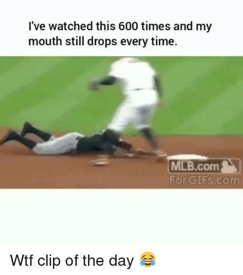 Funny, Mlb, and Wtf: I've watched this 600 times and my  mouth still drops every time.  MLB.com  For GIFs.com Wtf clip of the day 😂