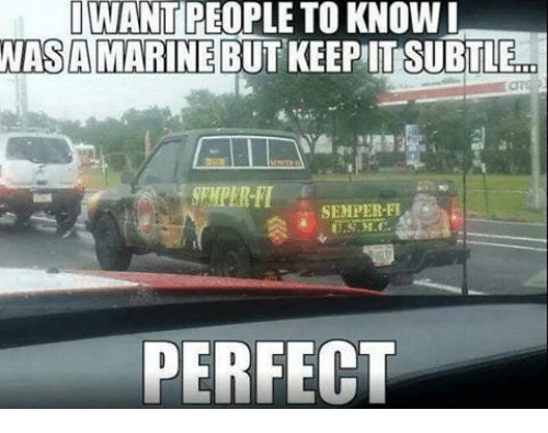 semper fi: IWANT PEOPLE TO KNOW I  NASA MARINE BUT KEEPIT SUBTLECO  SEMPER-FI  PERFECT