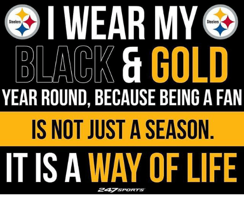 Life, Memes, and Black: IWEAR MY  Steelers  Steelers  BLACK & GOLD  YEAR ROUND, BECAUSE BEING A FAN  IS NOT JUST A SEASON  IT IS A WAY OF LIFE  247SPORTS