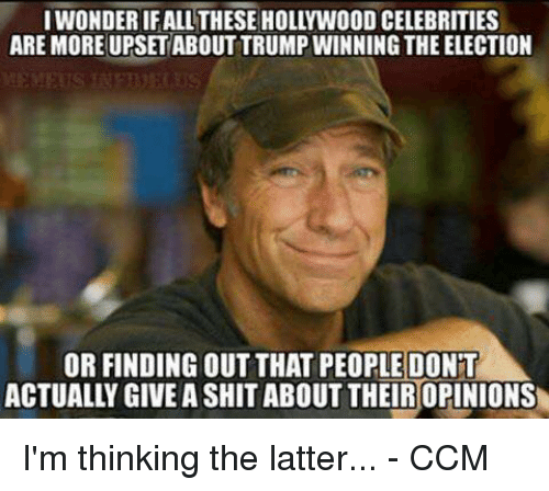 Trump Winning: IWONDERIFALL THESE HOLLYWOOD CELEBRITIES  ARE MORE UPSET ABOUT TRUMP WINNING THE ELECTION  OR FINDING OUT THAT PEOPLE DONT I'm thinking the latter...  - CCM