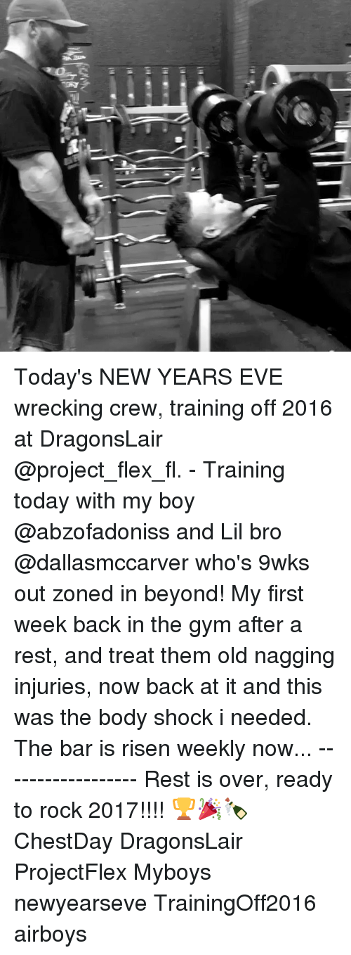 Flexing, Memes, and 🤖: Iya Today's NEW YEARS EVE wrecking crew, training off 2016 at DragonsLair @project_flex_fl. - Training today with my boy @abzofadoniss and Lil bro @dallasmccarver who's 9wks out zoned in beyond! My first week back in the gym after a rest, and treat them old nagging injuries, now back at it and this was the body shock i needed. The bar is risen weekly now... ------------------ Rest is over, ready to rock 2017!!!! 🏆🎉🍾 ChestDay DragonsLair ProjectFlex Myboys newyearseve TrainingOff2016 airboys
