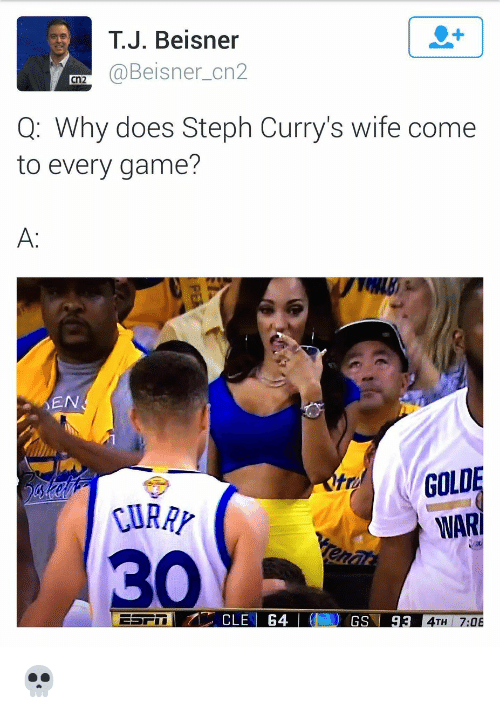 Memes, Steph Curry Wife, and Steph Curry: J. Beisner  (a Beisner cn2  Cn2  Q: Why does Steph Curry's wife come  to every game?  EN  GOLD  WARI  CLE 64  GS  93  4TH  OB 💀
