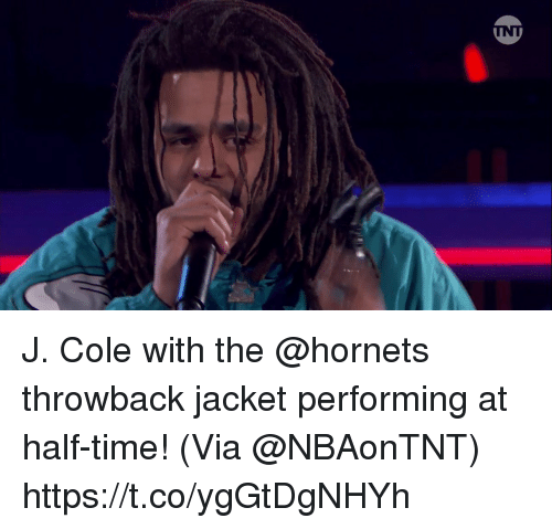 J. Cole: J. Cole with the @hornets throwback jacket performing at half-time!    (Via @NBAonTNT) https://t.co/ygGtDgNHYh