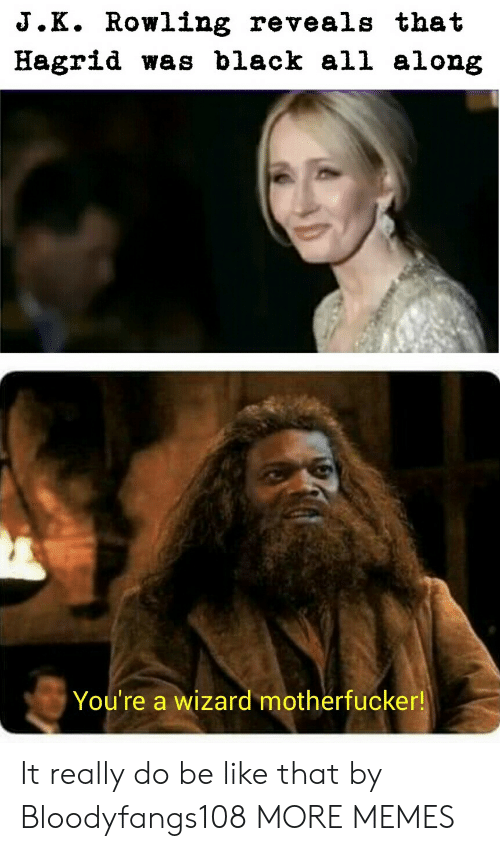 hagrid: J.K. Rowling reveals that  Hagrid was black all along  You're a wizard motherfucker! It really do be like that by Bloodyfangs108 MORE MEMES