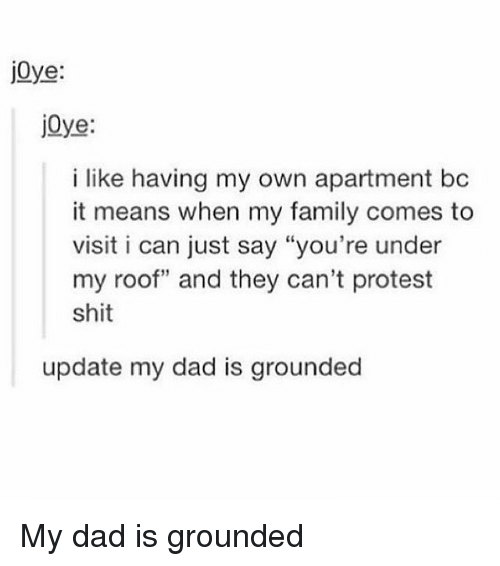 "Dad, Family, and Memes: j0ye:  jOye:  i like having my own apartment bc  it means when my family comes to  visit i can just say ""you're under  my roof"" and they can't protest  shit  update my dad is grounded My dad is grounded"