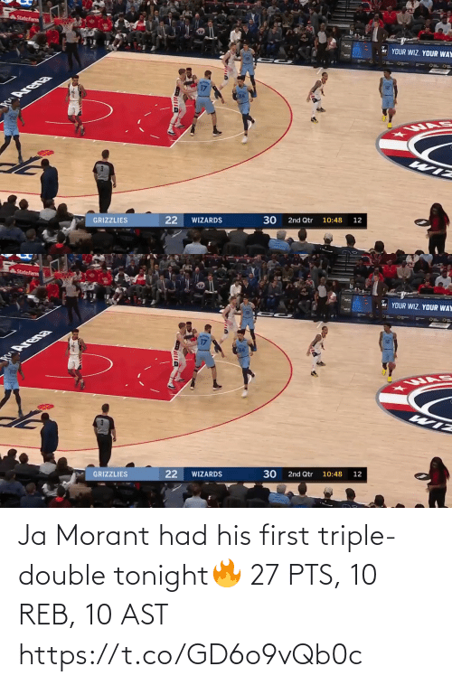 triple double: Ja Morant had his first triple-double tonight🔥  27 PTS, 10 REB, 10 AST https://t.co/GD6o9vQb0c