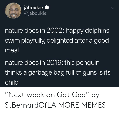 """gat: jaboukie >  @jaboukie  nature docs in 2002: happy dolphins  swim playfully, delighted after a good  meal  nature docs in 2019: this penguin  thinks a garbage bag full of guns is its  child """"Next week on Gat Geo"""" by StBernardOfLA MORE MEMES"""