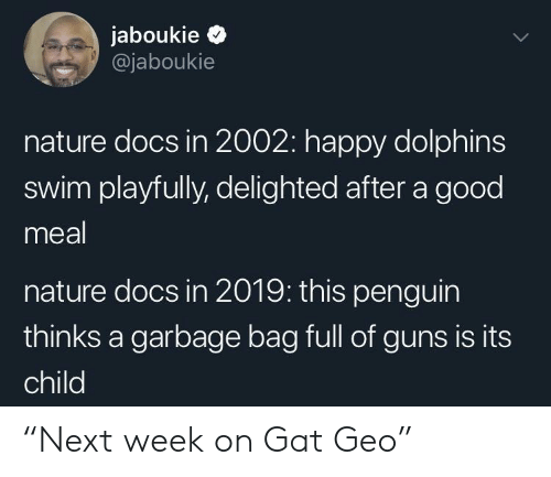 """gat: jaboukie >  @jaboukie  nature docs in 2002: happy dolphins  swim playfully, delighted after a good  meal  nature docs in 2019: this penguin  thinks a garbage bag full of guns is its  child """"Next week on Gat Geo"""""""