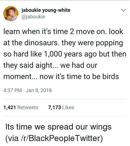Blackpeopletwitter, Birds, and Dinosaurs: jaboukie young-white  ajaboukie  learn when it's time 2 move on. look  at the dinosaurs. they were popping  so hard like 1,000 years ago but then  they said aight... we had our  moment.., now it's time to be birds  4:37 PM Jan 8, 2018  1,421 Retweets  7,173 Likes <p>Its time we spread our wings (via /r/BlackPeopleTwitter)</p>